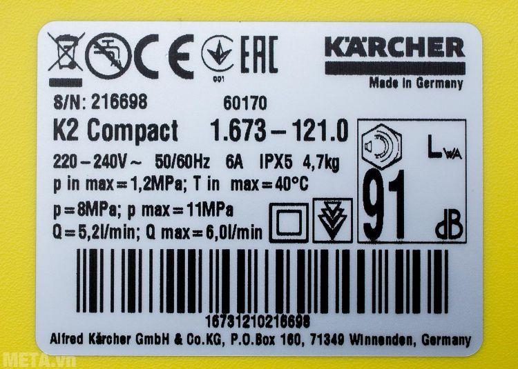 Máy rửa xe Karcher K2 Compact có độ ồn thấp 91 dB