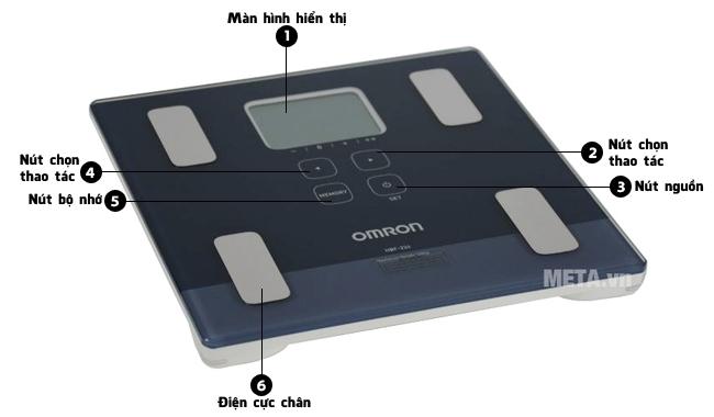 Cấu tạo các bộ phận của cân đo lượng mỡ cơ thể Omron HBF-224