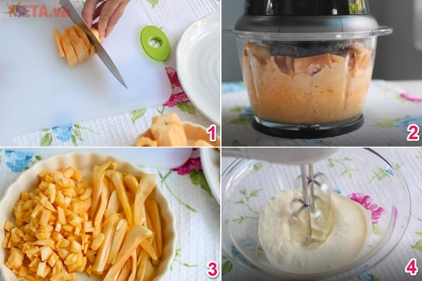 Các bước chế biến phần mít cho món kem mít