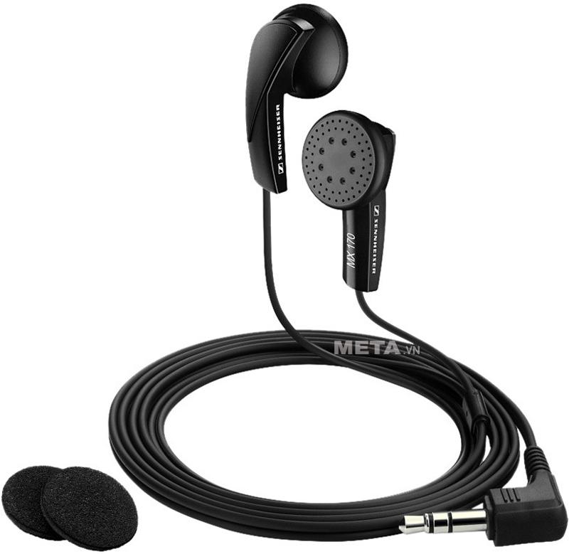 Tai nghe Sennheiser MX 170 EAST có bao đệm tai nghe làm từ chất liệu silicon êm ái, bao lấy đầu tai nghe giúp ngăn bớt tiếng ồn xung quanh
