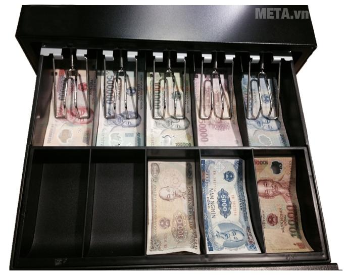 Ngăn kéo đựng tiền Maken MK 410 với 10 ngăn đựng tiền giấy, kế nối dễ dàng với máy in hóa đơn, động mở két khi có lệnh in