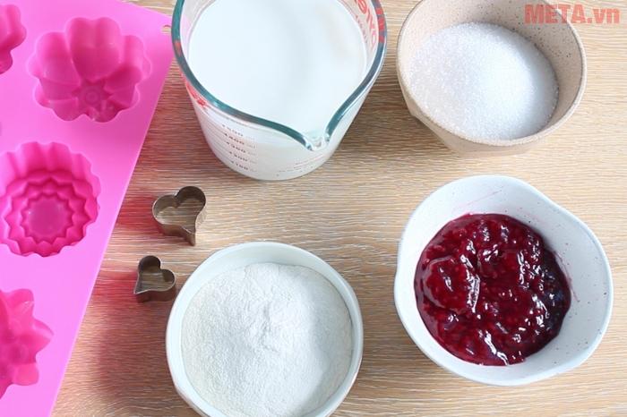 Các nguyên liệu để làm món bánh trung thu thạch rau câu