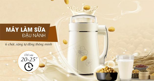 Máy làm sữa đậu nành đa năng có thể làm sữa đậu nành từ đậu nành khô và đậu nành đã ngâm, nấu cháo, xay sinh tố và làm sữa đậu xanh, sữa đậu đỏ, sữa đậu đen, sữa hạt... vô cùng tiện lợi.