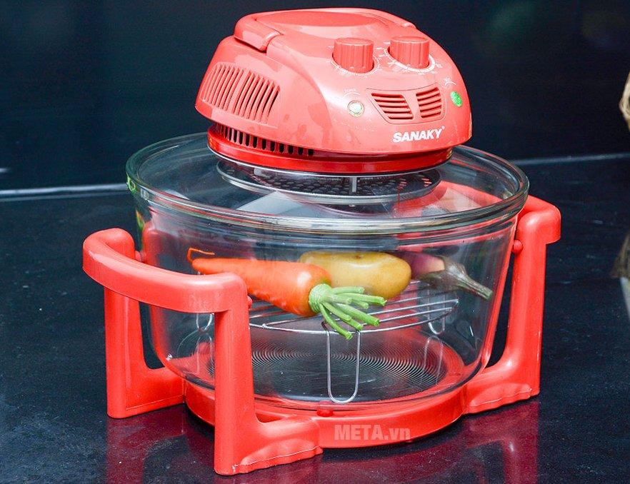 Lò nướng thủy tinh Sanaky VH 158T/D - 15 lít nướng được rau củ quả