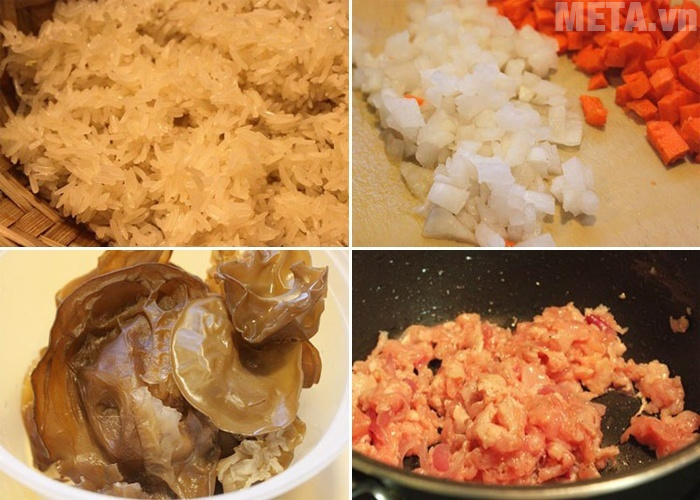 Các bước sơ chế nguyên liệu cho món xôi chiên nhân thịt