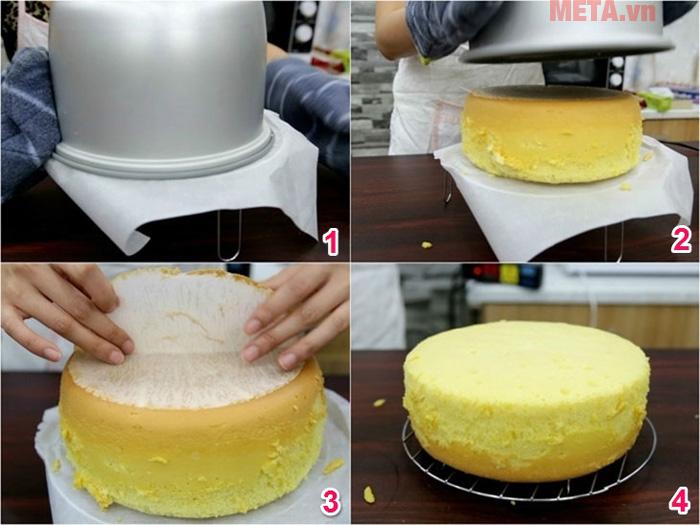 Lớp bánh bông lan được nướng bánh nồi cơm điện sẽ ngon không kém với nướng với lò nướng
