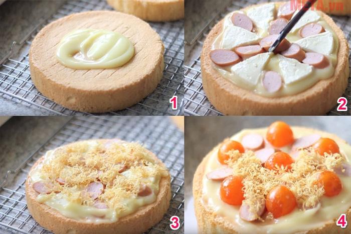 Cắt phần bông lan làm đôi và kèm theo các vị nhân là món bánh đã hoàn thành rồi
