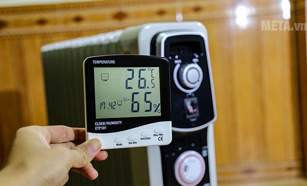 Kết quả thử nghiệm nhiệt độ phòng khi sử dụng máy sưởi dầu