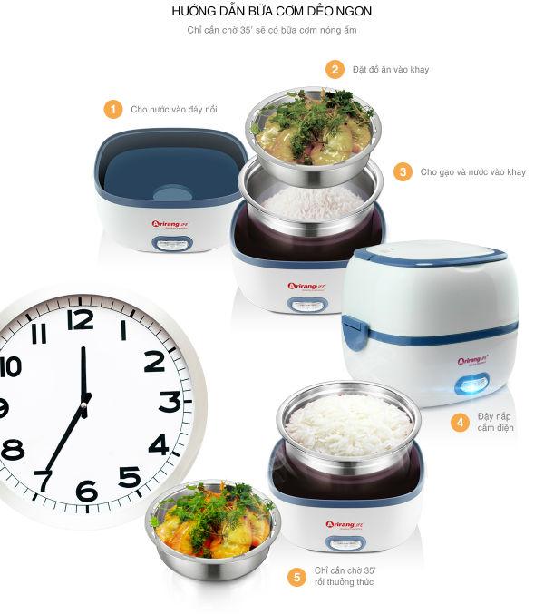 Bạn có thể chuẩn bị bữa cơm nóng ấm cực nhanh với hộp cơm cắm điện AirangLife.