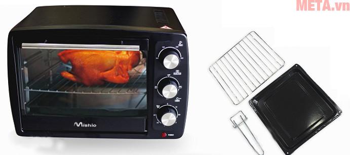 Lò nướng thùng Mishio 20 lít với các phụ kiện.