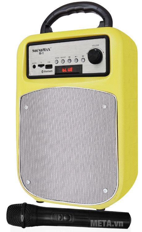 Loa SoundMax M-1 sử dụng pin sạc, cho thời gian sử dụng 6 giờ.