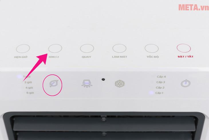 Nhấn nút ion (-) để lọc không khí