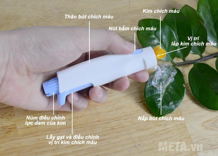 Cấu tạo bút chích máu máy đo đường huyết